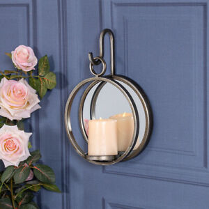 Antique Gold Candle Holder Sconce Mirrored Oval Hanger Home Wall Mounted Metal