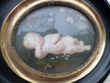 Peinture Miniature-ENFANT-putti-chérubin-XIXe-Cadre- painting