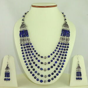 NATURAL LAPIS LAZULI GEMSTONE BEADED  NECKLACE & EARRINGS (5-6MM ROUNDS) 97 GM.