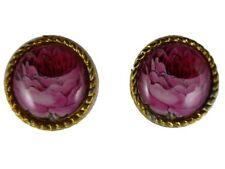Ohrringe Ohrstecker Stecker Vintage Cabochon goldfarben Blume / Rose Blüte 8423