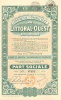 Compagnie Immobiliere du Littoral-Ouest SA, accion, 1929 (Siege: Bruxelles)