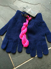 Paul Smith 100% Lana-Royal Blue-Con Cable Fairisle De Lana Guantes-BNWT
