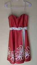 Alfred Angelo Prom Dress Orange Red 6 Ribbon Bow Waist Flowers Formal Dress