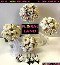 Silk wedding bouquet ivory peony dusty pink gyp flowers peonies weddings set