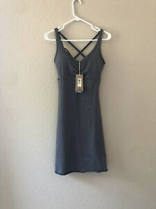 New Prana Rebecca Strappy Stretch Support Dress Womens Size S Black Stripe
