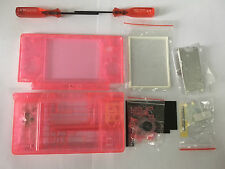 Nintendo DS Lite Full Replacement Housing Shell Screen Lens Clear Pink US!
