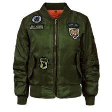 Girls Boys Children Ma1 Badges Bomber Jacket Kids Coat Army Military Padded 7-13 Age 13 Khaki