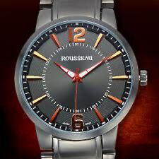New Rousseau 9413 Mens Flury Orange Grey Dial Gunmetal Band Watch 44mm heavy wow