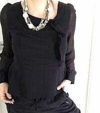REVIEW WOMENS BLOUSE PEPLUM BLACK TAILORED STRETCHY LONG SLV WORK Zip Back SZ 12