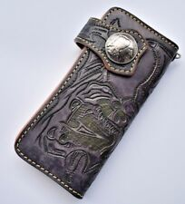 HANDAME CARVED BLACK DRAGON WALLET WITH TRIBAL NATIVE AMERICAN  BUTTON WALLET