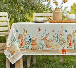 "Spring & Easter Decor Tablecloth 60""x 84"" Oval Bunny Rabbits Chicks Wildflowers"