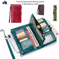 Top Grain Leather Passport Wallet Clutch Purse Coin Bag Card ID Phone Holder