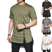 Mens Short Sleeve Mid Zipper T-shirt Hip Hop Streetwear Tee Shirt Side Slit Tops