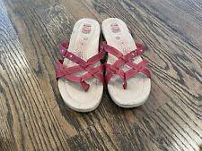 Earth Spirit Sandals Women's Sz 11 M Red Leather Slide Gelron 2000 Flats