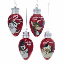 Set/4 Kurt Adler Retro Vintage Style Bulb Ornament Christmas Decor Santa Snowman