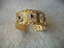 NOLAN MILLER Signed CUFF Hinged Goldtone Bracelet Ruby & Clear Crystal NEW