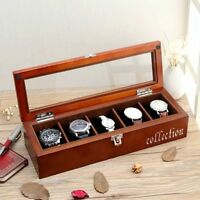 Wood Transparent Display Watch Organizer Box,5 Slots Wooden Case For Watches