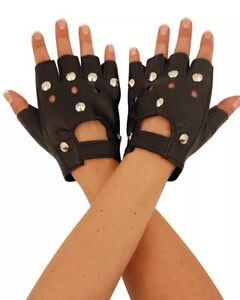FINGERLESS STUDDED BIKER PUNK GLOVES DRIVING GLOVES FAUX LEATHERS CYCLING GLOVES