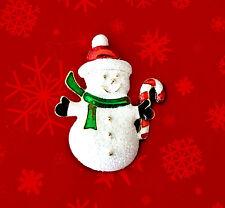VINTAGE CHRISTMAS SNOWMAN GLITTER ENAMEL GOLD TONE WINTER PIN BROOCH~90'S NOS