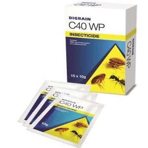 DIGRAIN C40 WP INSECTICIDE 1 x 10G FOR WASPS, FLEAS, ANTS, BEDBUGS, COCKROACHES