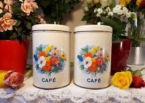 2 Lovely Antique french tin canisters flowers birds 1950s vintage metalware