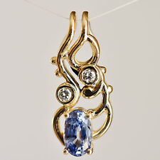 NATURAL SAPPHIRE PENDANT ICE BLUE GEM GENUINE DIAMONDS 9K GOLD GIFT BOXED NEW