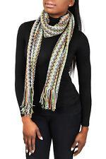 Missoni D4898 0003 Green/Beige Wool Blend Crochet Knit Zigzag Scarf