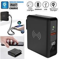 8000mAh Travel Qi Wireless Fast Charger Power Bank USB Type-C Backup Battery 15W