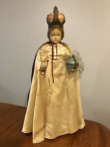"Vtg Antique 17"" Chalkware Catholic Religious Jesus Statue Infant of Prague"