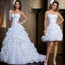 White/Ivory Detachable Skirt Lace Wedding Dress Classic Strapless Bridal Gown