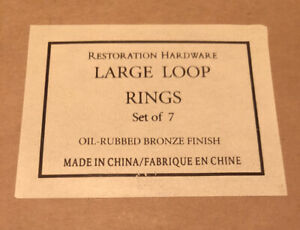 RESTORATION HARDWARE LARGE LOOP RINGS SET OF 7  -Oil Rubbed Bronze Finish