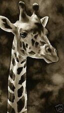 Giraffe Art Print Sepia Watercolor Wildlife 11 x 14 by Artist DJR