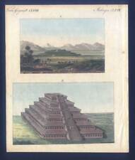 Pyramide von Cholula - Papantla - Mexiko - Kupferstich-Bertuch 1800 Mexico