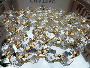 100 Chandelier Crystal 14MM Beads On Brass Link Chain -Wedding/ Chandelier