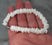 "Vintage 1970's White Puka Shell 3/8"" Thick Style Hawaiian Made 8-1/4"" Bracelet"