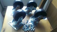"""4"""" x 1-1/4"""" Casters 4 Swivels with 2 Brakes NEW with bolts Lot of 4"""