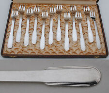 CHRISTOFLE LAOS 12 FOURCHETTES A HUITRE METAL ARGENTE ART DECO