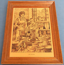 VINTAGE COPPER ETCHED PICTURE THE POTTER TRADE CRAFT POTTERY POTTERS WHEEL