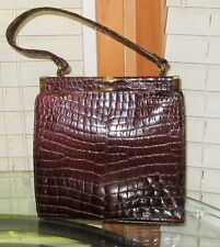 Vintage Brown Crocodile Brass Hinged Handbag Purse - Collectible Fashion