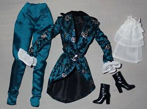 Barbie Beautiful Iridescent Teal Taffeta Pantsuit ~ Newly Unboxed Condition