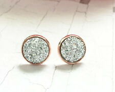 ROSE GOLD SPARKLING SILVER DRUZY RESIN ROUND CLIP ON EARRINGS 12MM