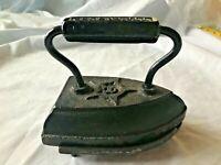 "Antique FerroSteel Sad Iron With Trivet Stand Geneva Ill 6 3/8"" L x 3  7/8"" W #8"