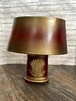 "Vtg Small Table Bedside Desk Red & Gold Gilded Lamp Leviton 11.5"""