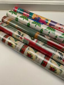 """5-Pack 30""""x 50 Sq.Ft Holiday Wrapping Paper Snowman/Wreaths/Christmas Tree"""