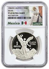 1986 Mexico 1 oz. PF Silver Libertad Onza NGC PF69 UC (Exclusive Label) SKU42326