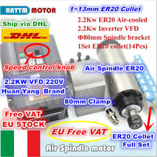 【IT】2.2KW ER20 220V 80mm Air Cooled Spindle Motor Kit+VFD Inverter+Clamp+Collet