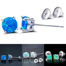 1 Pair 6MM Opal Plated Platinum For Women Opal Stud Earrings Green Blue White