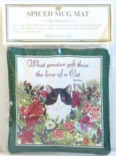Alice's Cottage Cotton Scented Spiced Mug Mat Coaster Holiday Cat & Amaryllis