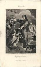 Stampa antica WIELAND Agathodamon serpenti 1860 Old antique print Alte stich