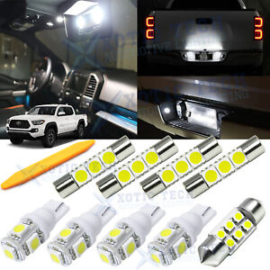 9x White LED Interior Lights Package Kit for Toyota Tacoma 2016-2019 2020 + Tool